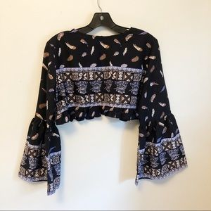 Boohoo Bell Sleeve Cropped Festival Top